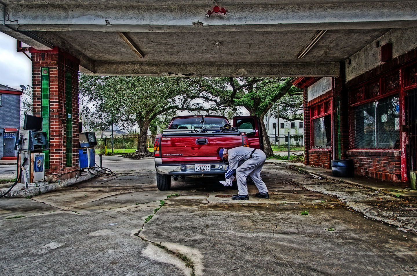 Caring for His Truck in Central City