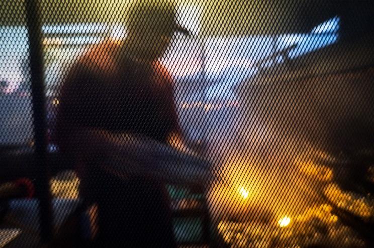 BBQing the ribs.