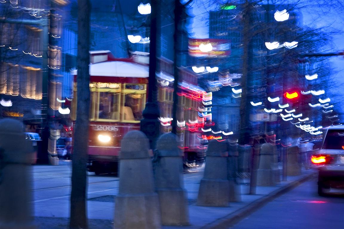 Dusk and a Speeding Streetcar on Canal Street