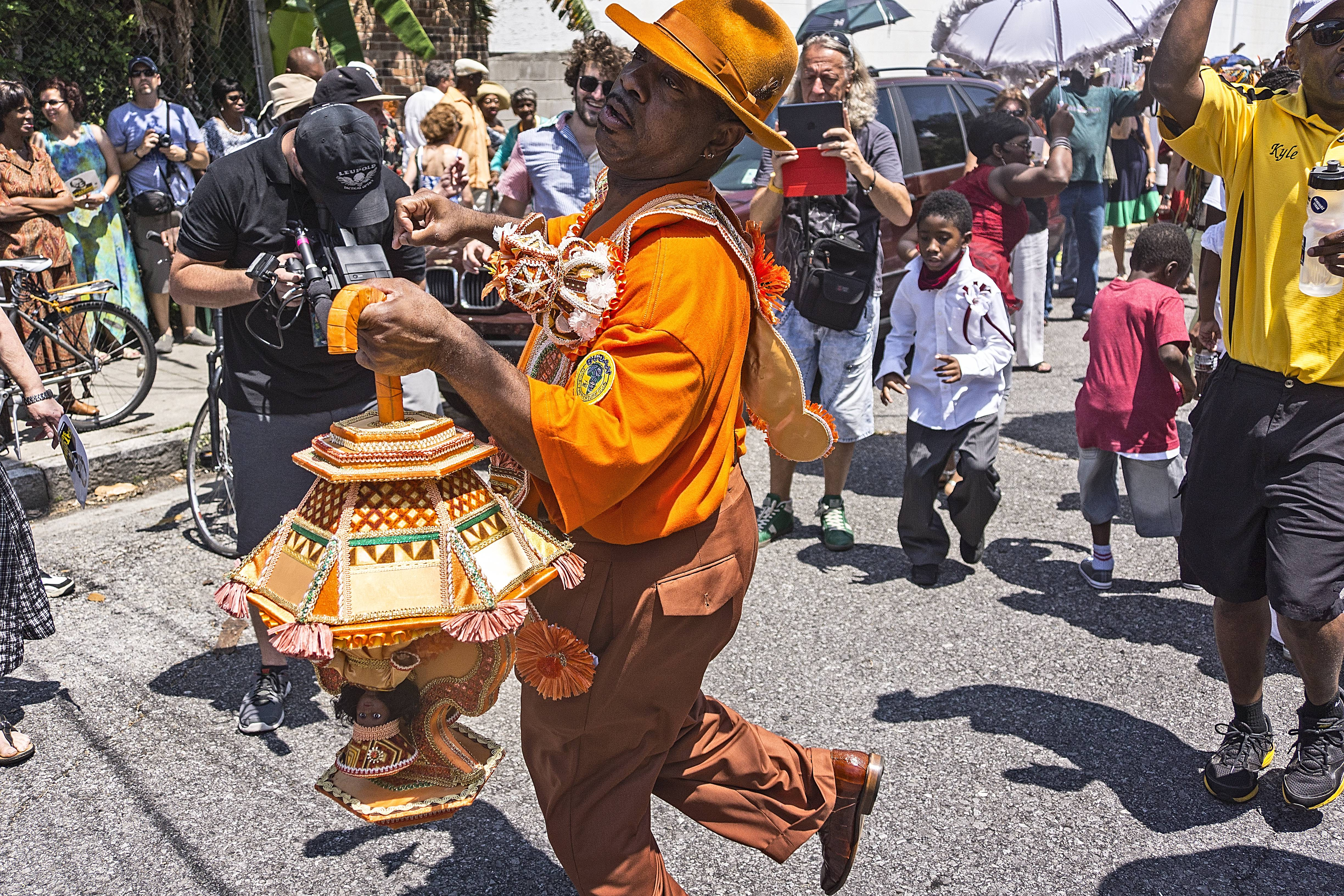 The dancing begins at The Stachmo second line parade.