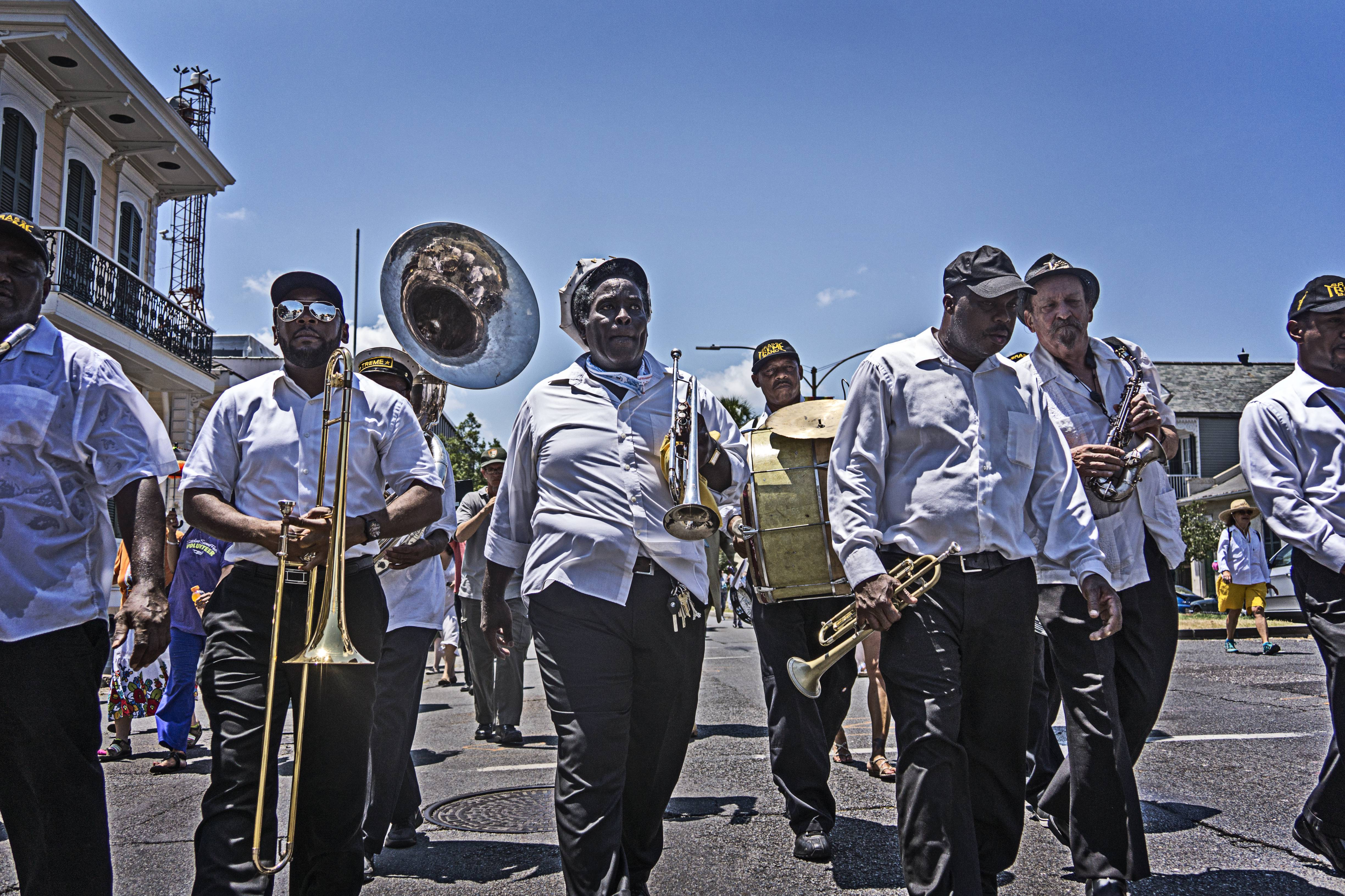 After a long walk the Treme  Brass Band looked tired and hot but still had a long way to go.