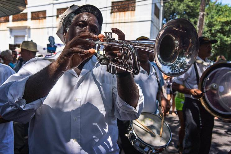 Treme Brass Band gets going at the start of the Stachmo second line parade.