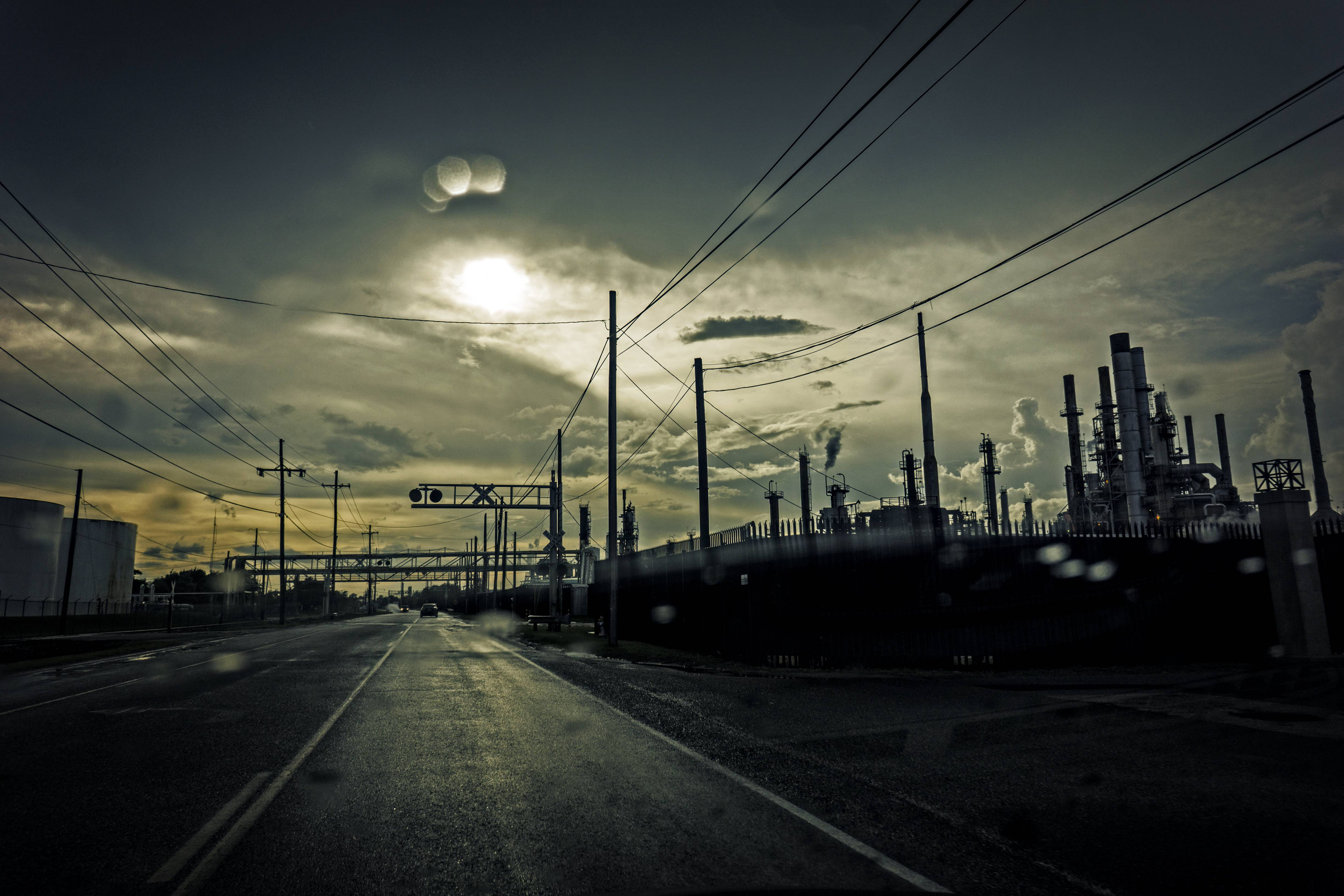There are lots of oil refineries in Southeast Louisiana. Between their strangeness and the weather, the picture became very, very moody.