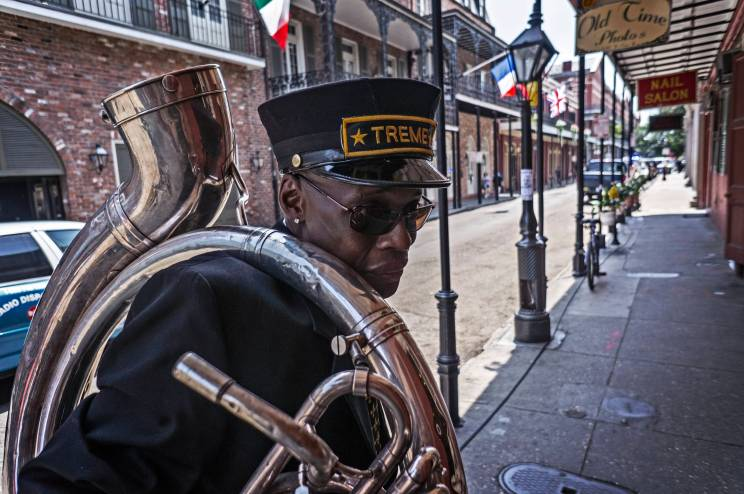 Treme Brass Band tuba player heads to the parade.