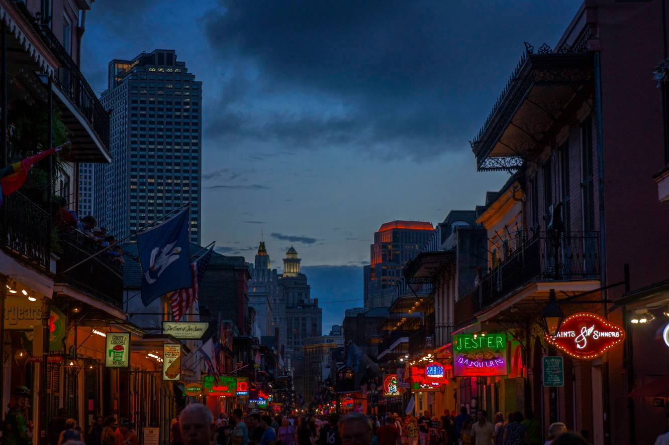 Dusk comes to Bourbon Street.