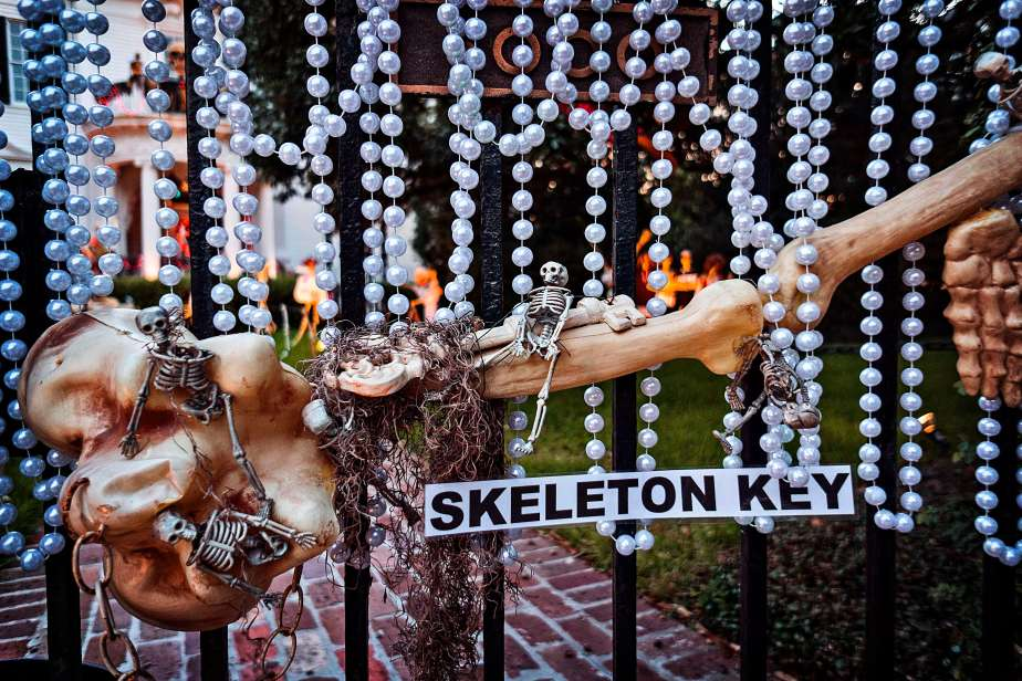 Bones and beads on St. Charles Avenue.