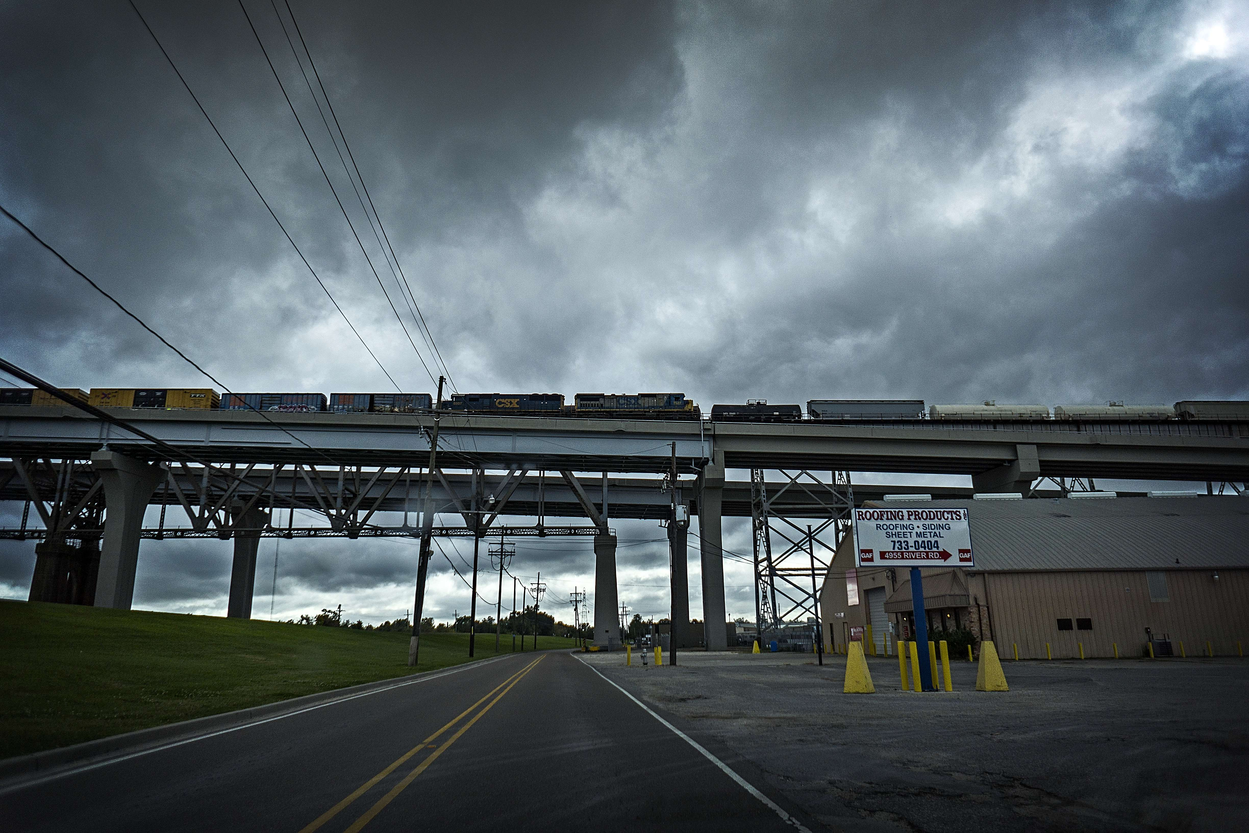 Trains crossing The Mississippi River over The Huey P. Long Bridge near Harahan, LA.
