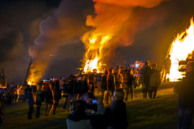 Bonfires along the Mississippi River... in Lutcher, Louisiana.