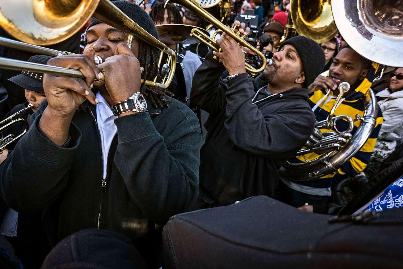 Massive brass at the Mandela second line parade.