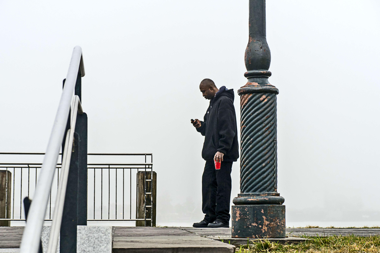 Fog bound and making a phone call.