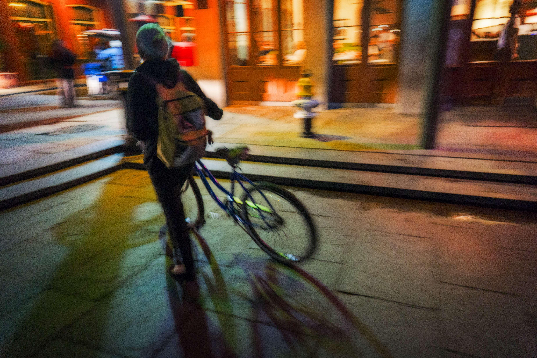 Biking -- sort of -- in Jackson Square.