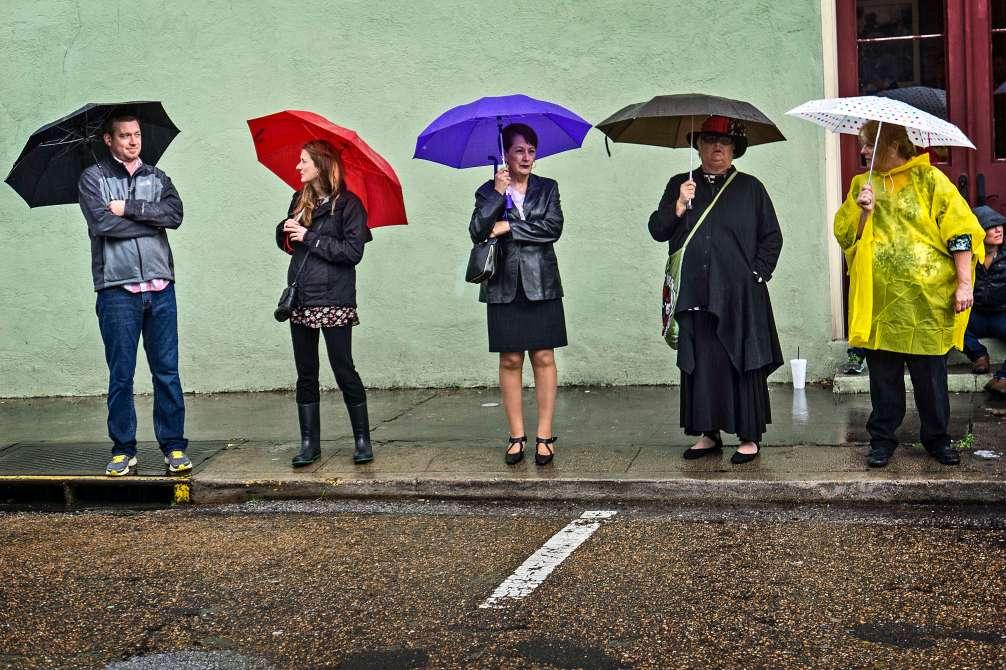 Color, umbrellas and rain.