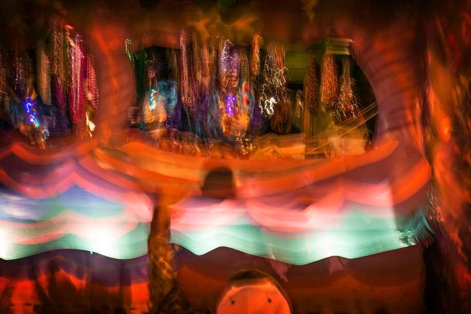 Impressionistic Mardi Gras float.