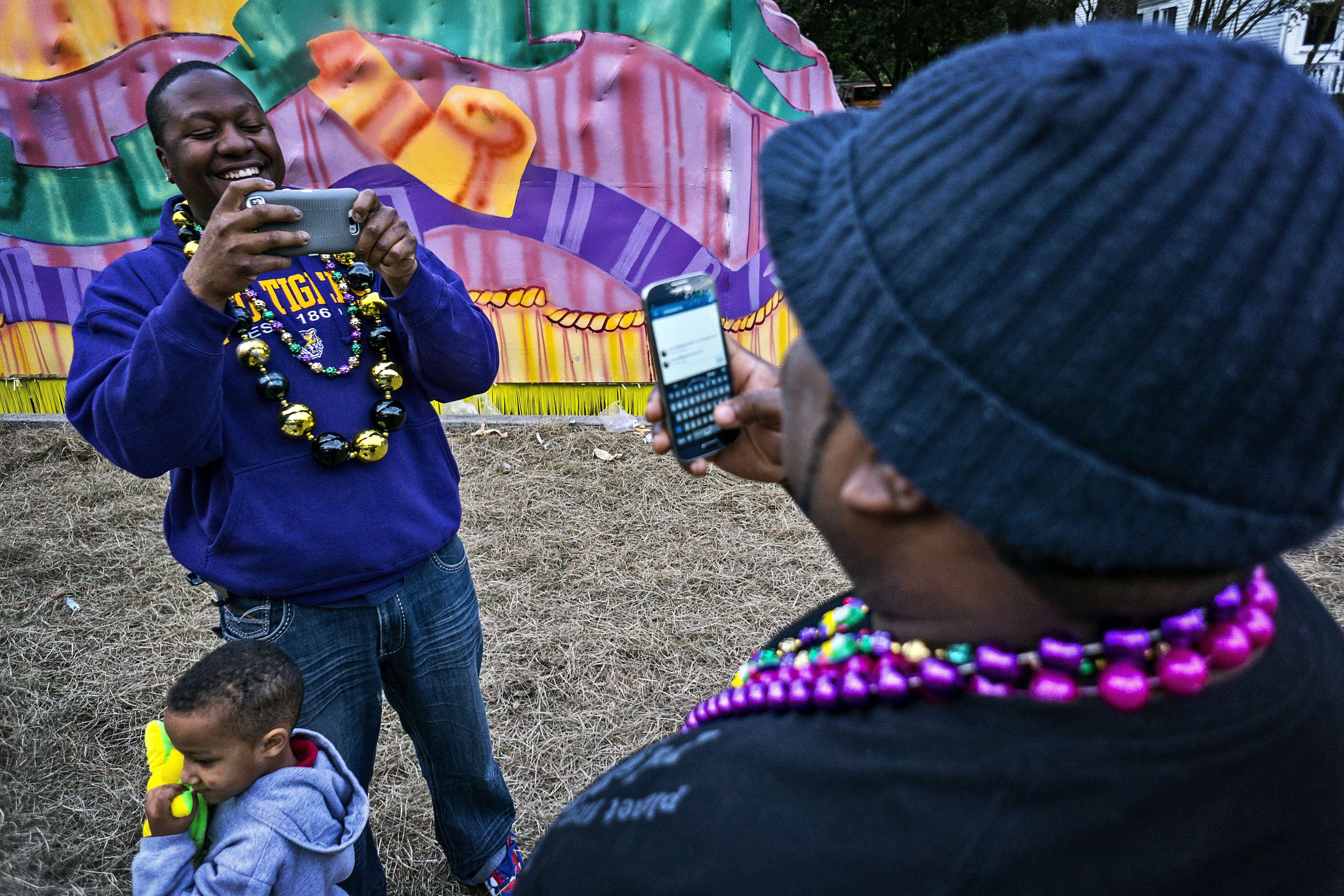 The way it is today. Selfies and portraits even at a parade.