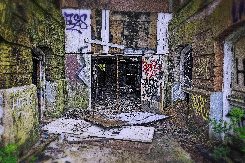 Broken doors and painted walls.