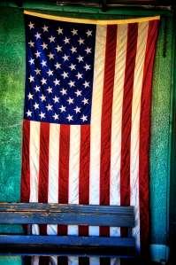Hanging American flag.