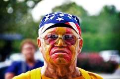 American flag used as a hat on a Mardi Gras Indian.