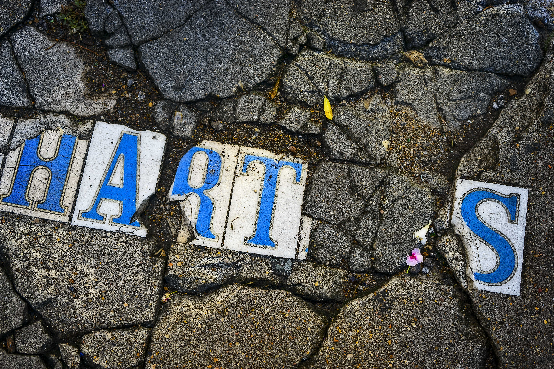 Broken street sign.
