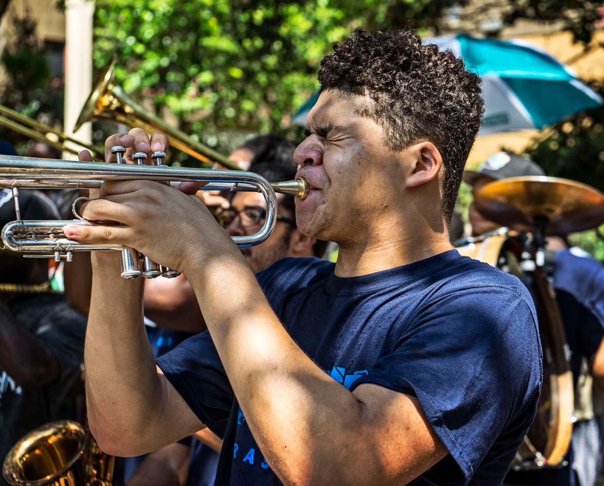 Playing in the band.