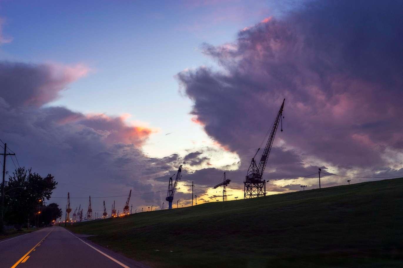 Avondale ship building cranes.
