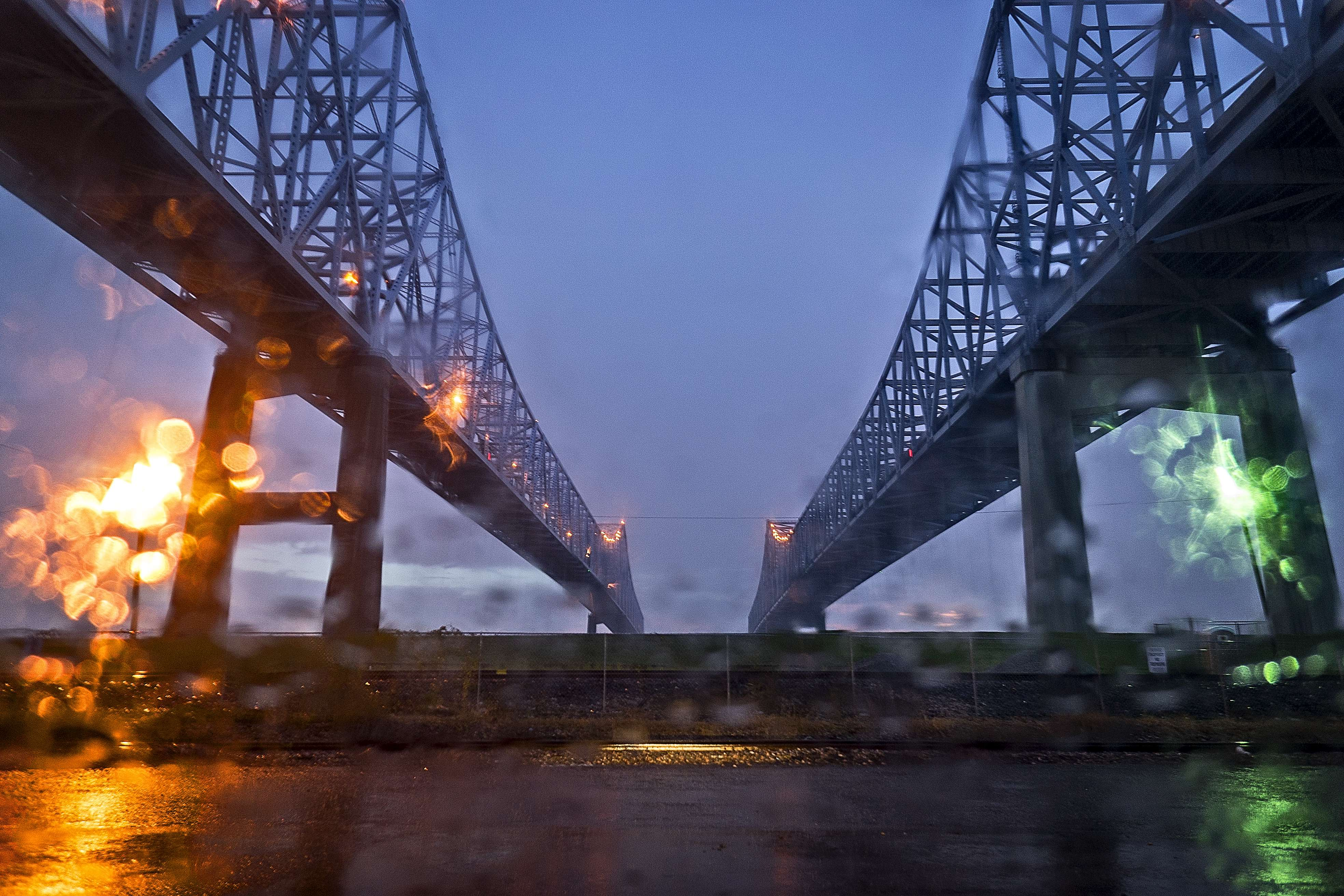 Crescent City Connection in the rain.