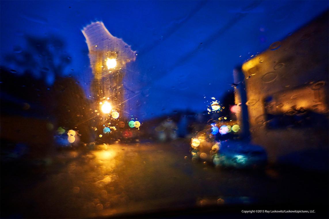 A little rain on the windshield.