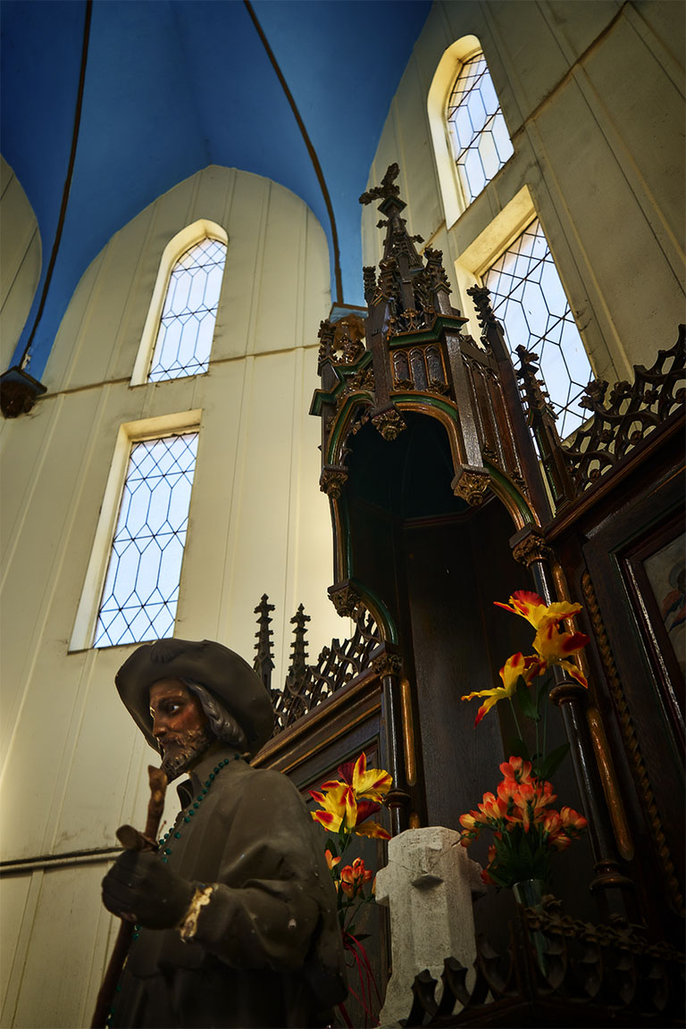 Inside the chapel at St. Roch Cemetery.