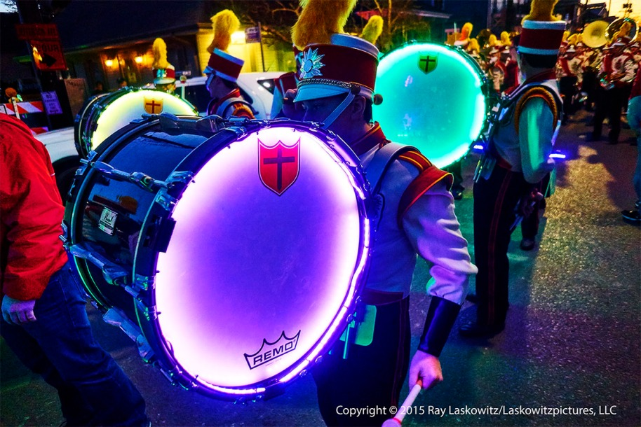 Lighted drums.