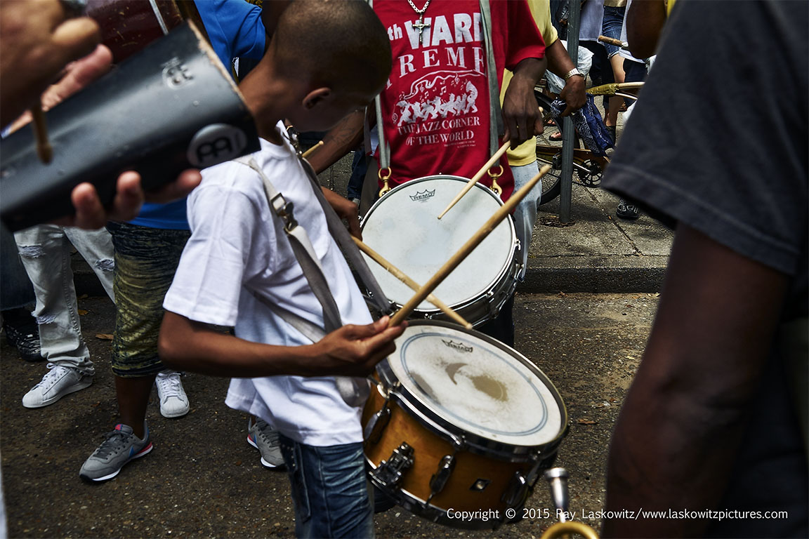 Drummer in a crowd.