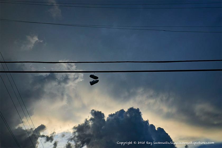Hanging sneakers.