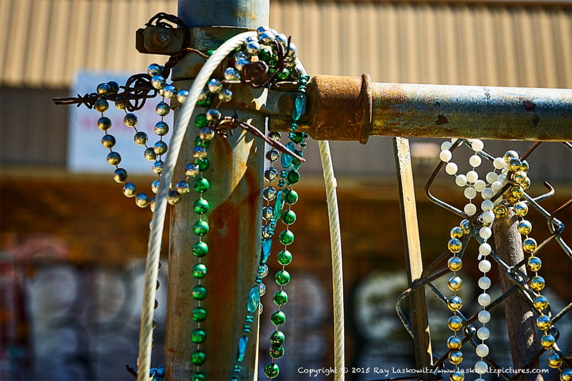 Mardi Gras beads and hurricane debris.