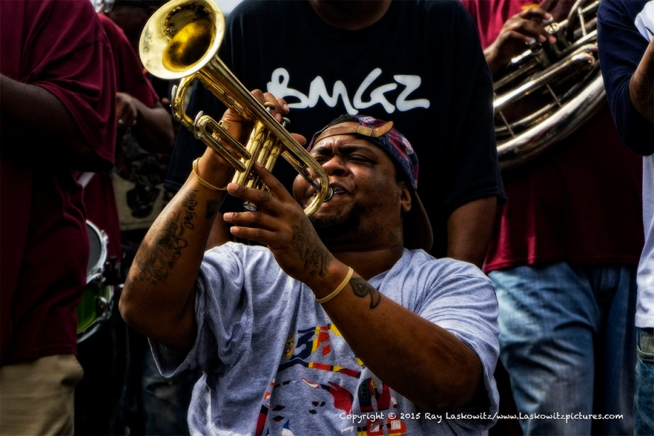 Trumpeting away in the Hot 8 brass band.