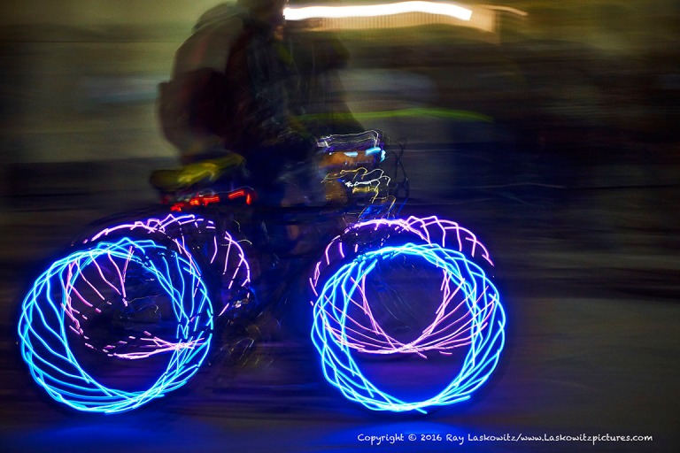 Lighted night ride.