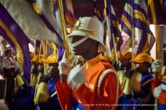Drum major among his band's flags.