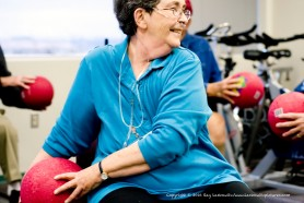 Older people exercise.