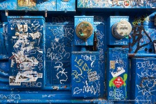 Graffiti on blue.