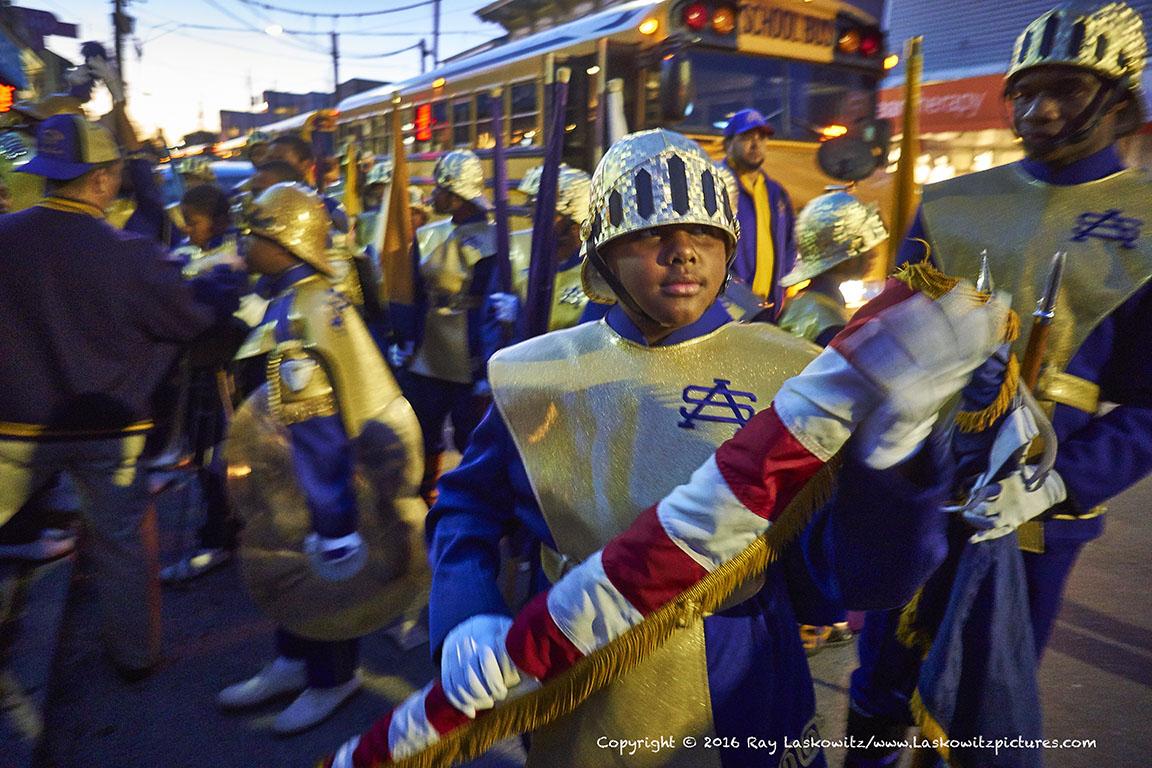 St Augustine Marching 100 flag bearer.