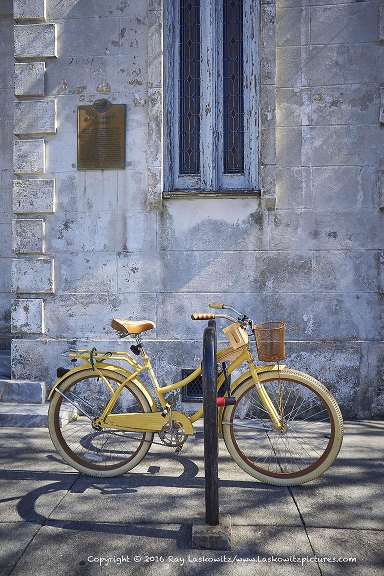 Winter light, yellow bike.