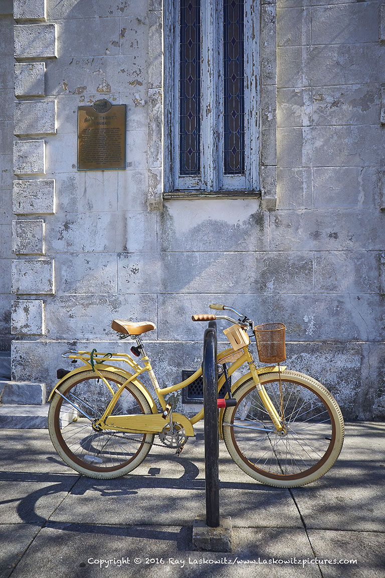 Winter light, yellow bike.