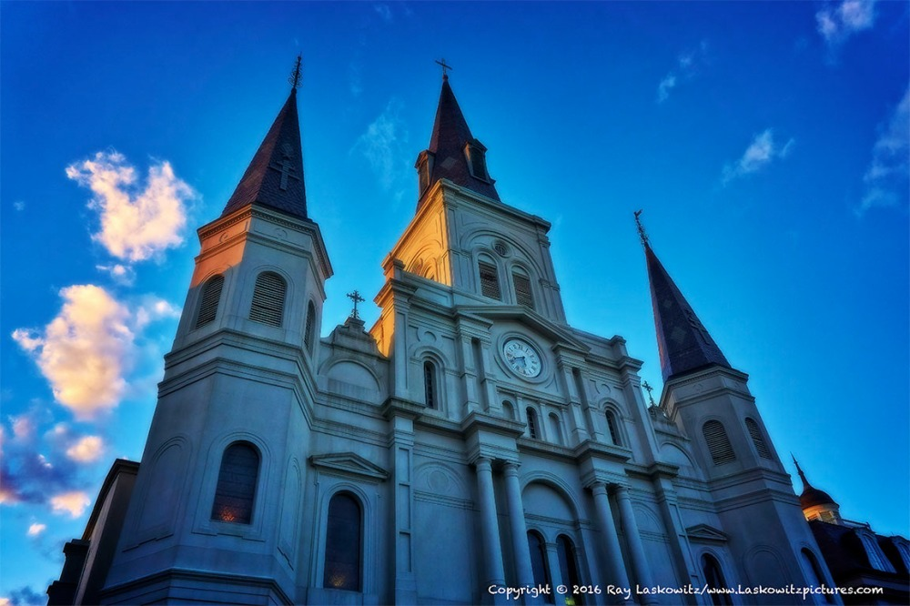 St. Louis Cathedral as the setting sun lights it.