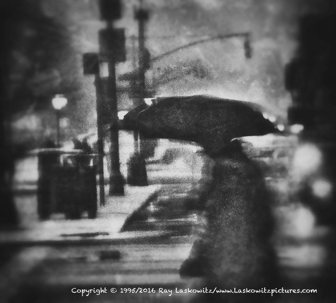 Rainy weather in New York City.