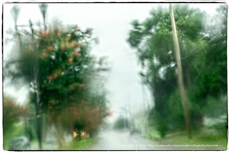 Driving in the pouring rain.