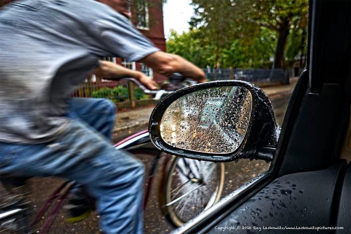 Biking in the rain.