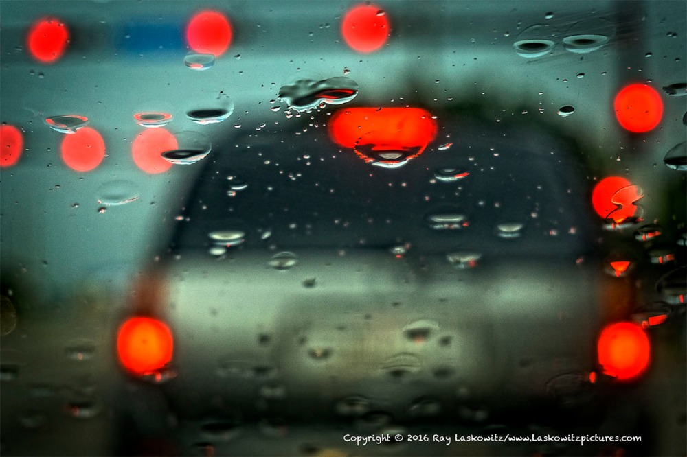 Tail lights in the rain.