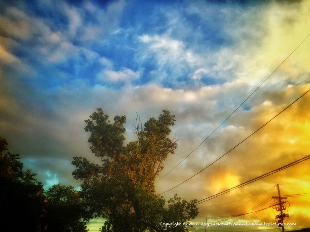 Dawn's fire in the sky.