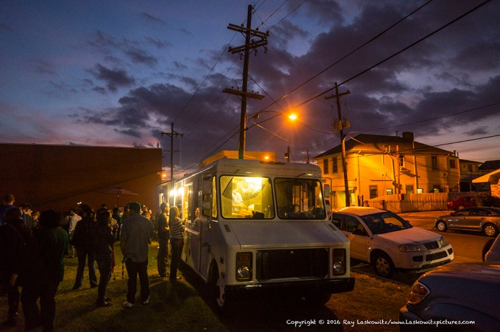 Food trucks at dusk.