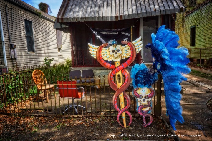 Waiting. Wildman John's Mardi Gras Indian gear.