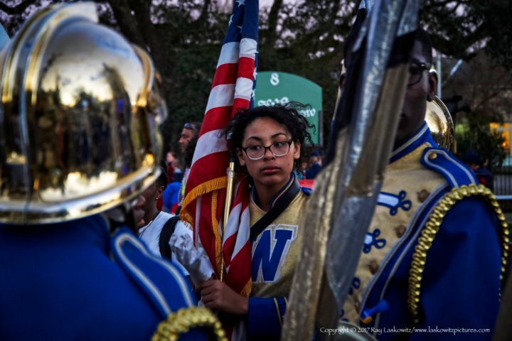 Flag bearer, Krewe of Muses, Mardi Gras 2017, Uptown, New Orleans