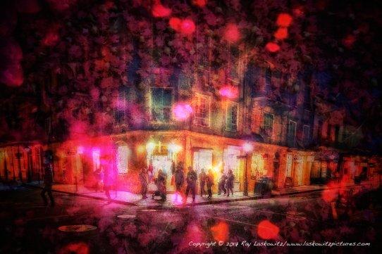 In the night, The French Quarter of New Orleans with a little artistic help.