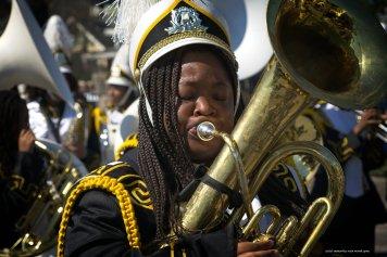 Tuba playing is hard work.